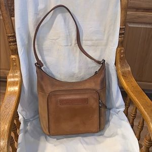 Fossil vintage tan leather hobo purse size Small